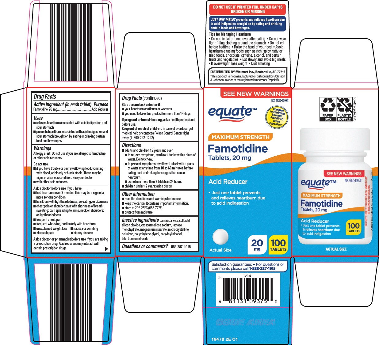 Famotidine Tablets, 20 mg Carton