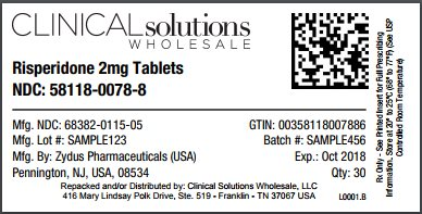 Risperidone 2mg tablet 30 count blister card