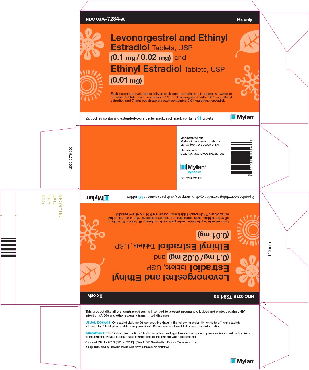 Levonorgestrel and Ethinyl Estradiol Tablets, USP (0.1 mg/ 0.02 mg) and Ethinyl Estradiol Tablets, USP (0.01 mg) Carton Label