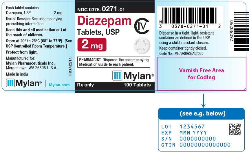 Diazepam Tablets 2 mg Bottle Label
