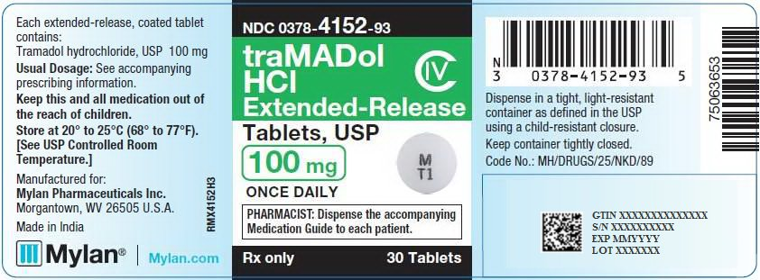 Tramadol Hydrochloride Extended-Release Tablets 100 mg Bottle Label