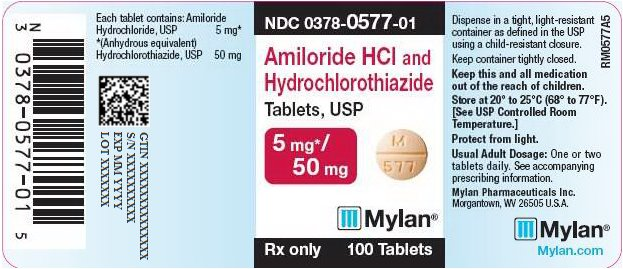 Amiloride HCl and Hydrochlorothiazide Tablets 5 mg/50 mg Bottle Label