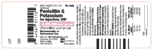 Penicillin G Potassium for Injection, USP 5,000,000 units* per vial label image