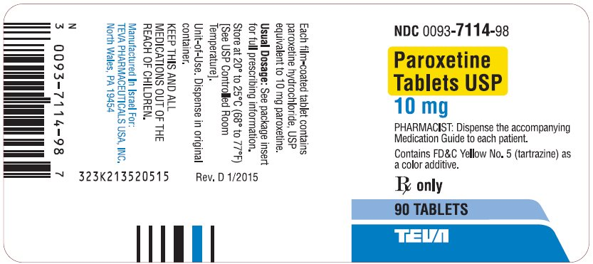 Paroxetine Tablets USP 10 mg 90s Label