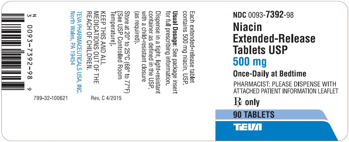 Niacin Extended-Release Tablets USP 500 mg 90s Label