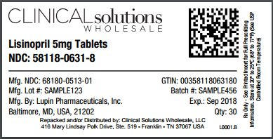 Lisinopril 5mg tablet 30 count blister card