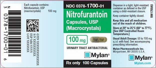 Nitrofurantoin Capsules, USP (Macrocrystals) 100 mg Bottle Label