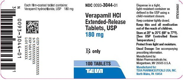 Verapamil HCl Extended-Release Tablets, USP 180 mg Bottle Label