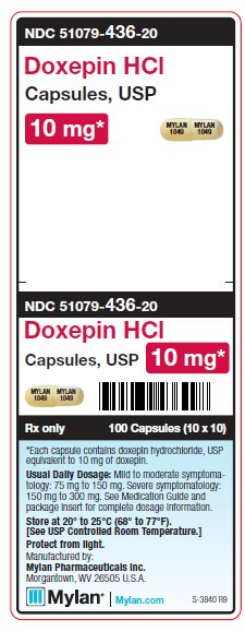 Doxepin HCl 10 mg Capsules Unit Carton Label