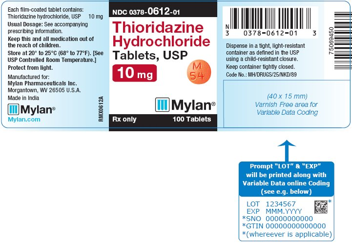 Thioridazine Hydrochloride Tablets 25 mg Bottle Label