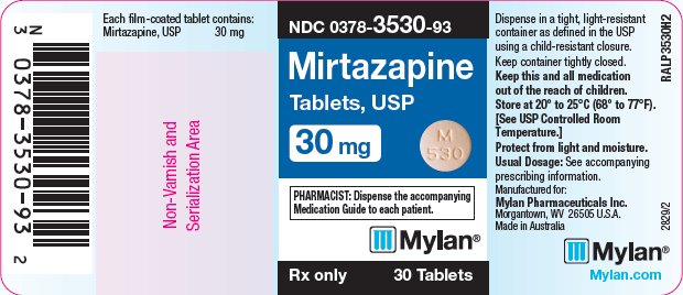 Mirtazapine Tablets 30 mg Bottle Label