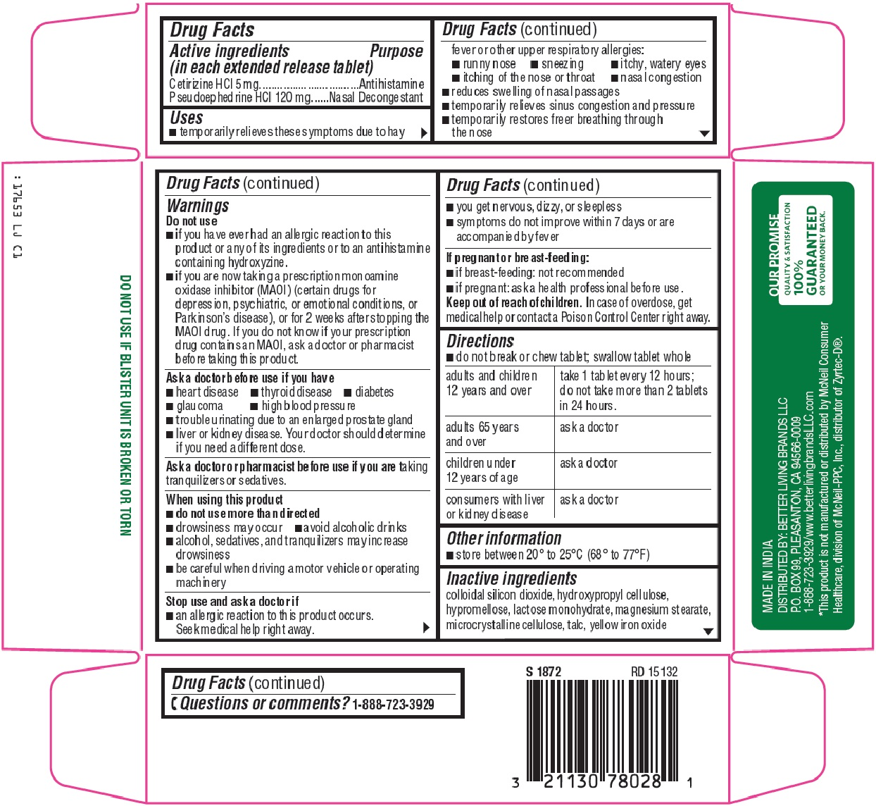 Is Signature Care Allergy Relief D   Cetirizine Hcl, Pseudoephedrine Hcl Tablet, Extended Release safe while breastfeeding
