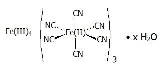 Structural formula for Prussian blue insoluble