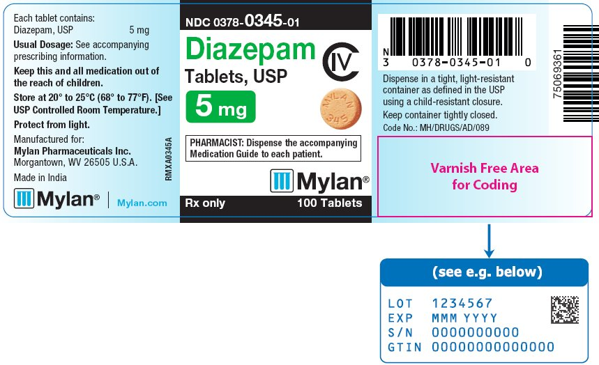 Diazepam Tablets 5 mg Bottle Label