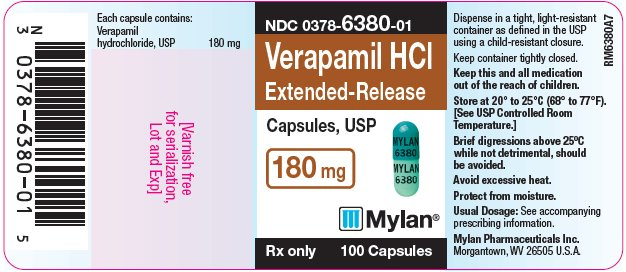 Verapamil Hydrochloride Extended-Release Capsules, USP 180 mg Bottle Label