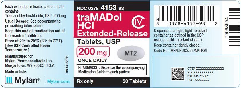 Tramadol Hydrochloride Extended-Release Tablets 200 mg Bottle Label
