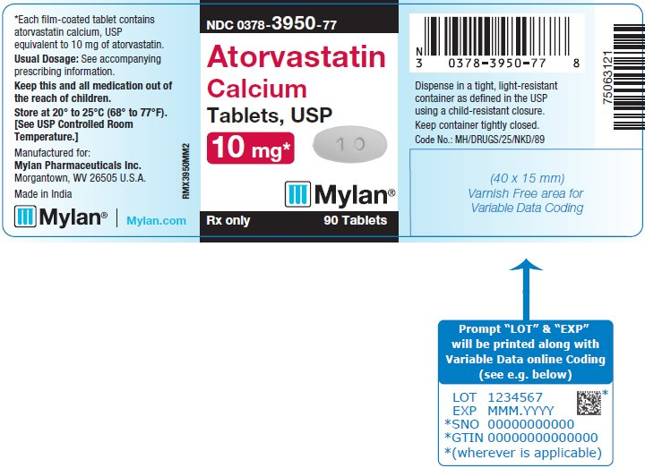 Atorvastatin Calcium Tablets 10 mg Bottle Label