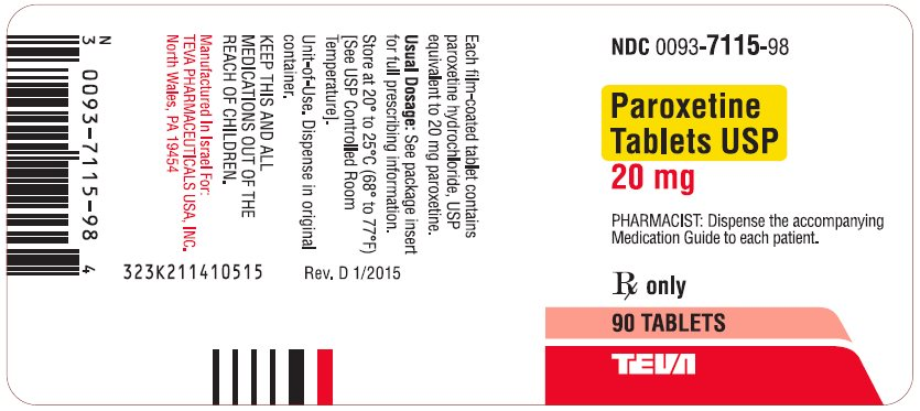 Paroxetine Tablets USP 20 mg 90s Label