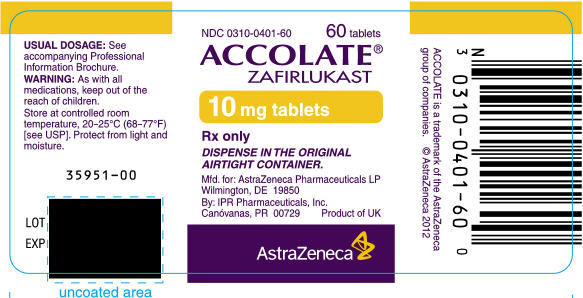 ACCOLATE 10 mg tablets Bottle Label 60 tablets