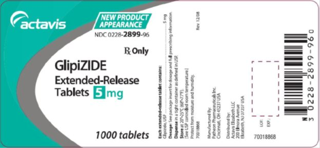 Glipizide Extended-Release Tablets 5 mg, 1000s Label