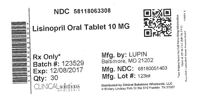Lisinopril 10mg tablet 30 count blister card