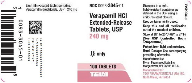 Verapamil HCl Extended-Release Tablets, USP 240 mg Bottle Label