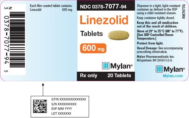 Linezolid Tablets 600 mg Bottle Label