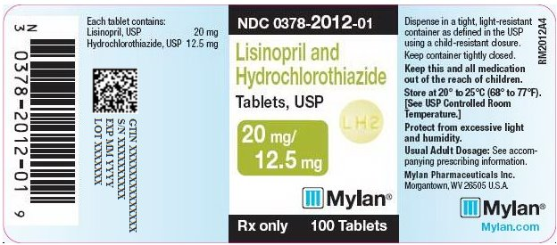 Lisinopril and Hydrochlorothiazide Tablets, USP 20 mg/12.5 mg