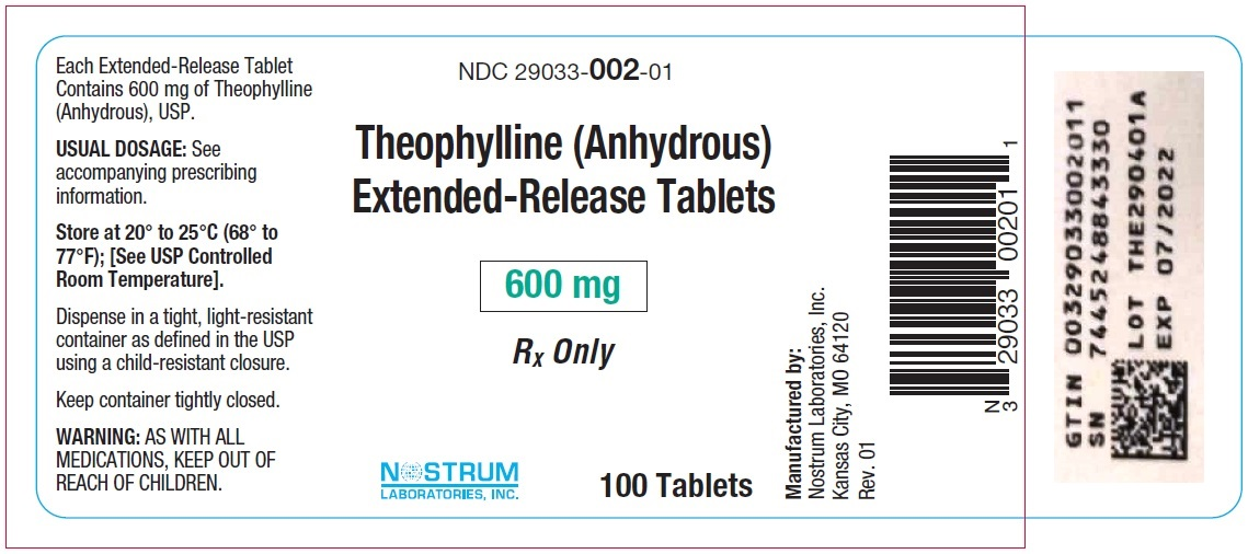 Theophylline (Anhydrous) Extended-Release Tablets 600 mg Bottle Label