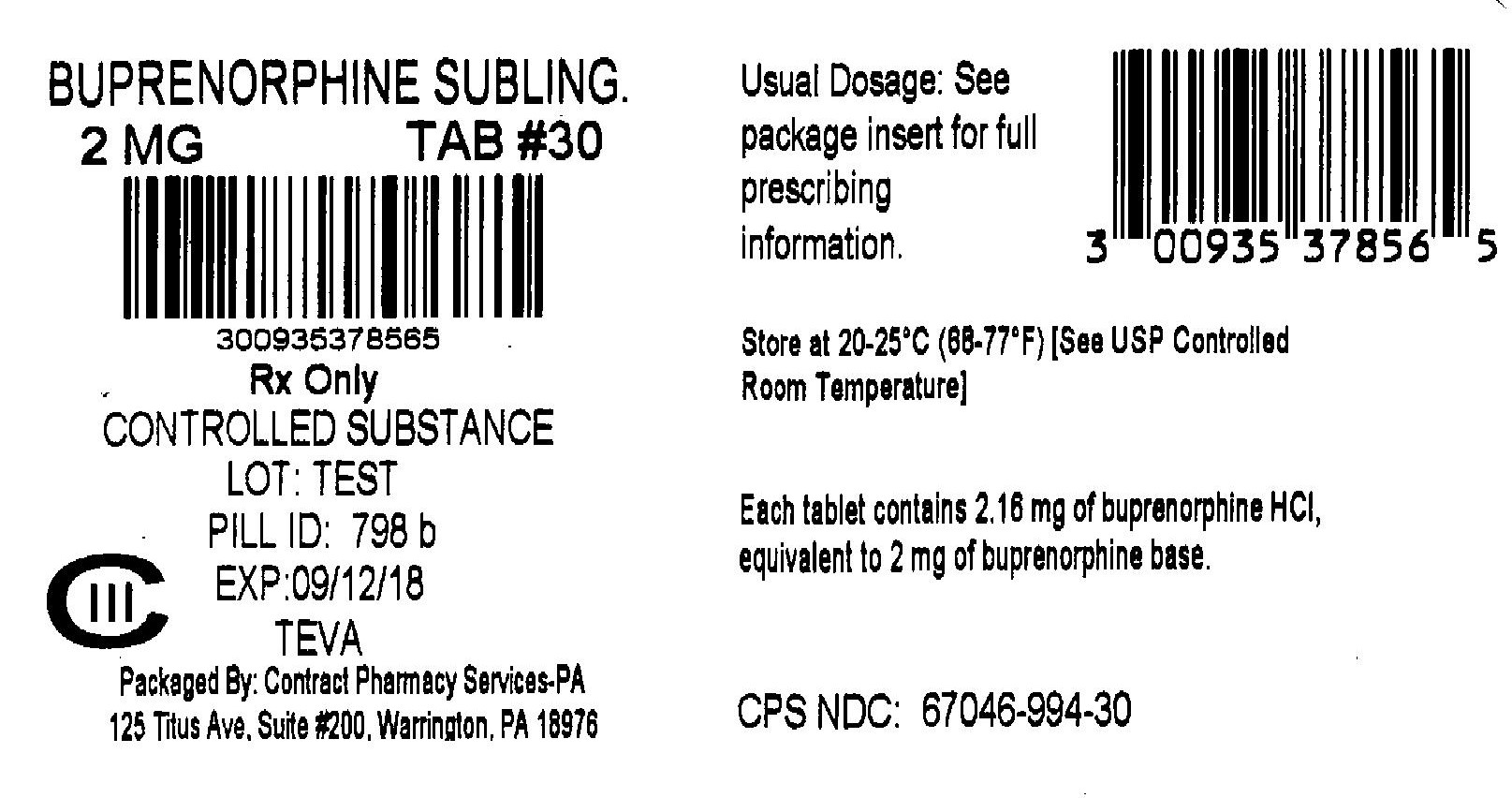 Buprenorphine Hydrochloride Sublingual Tablets 2 mg 30s Label