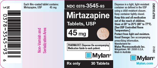 Mirtazapine Tablets 45 mg Bottle Label