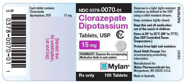Clorazepate Dipotassium Tablets 15 mg Bottle Label