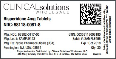 Risperidone 4mg tablet 30 count blister card