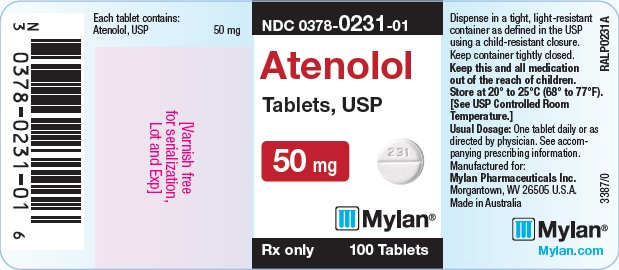 Atenolol Tablets 100 mg Bottle Label
