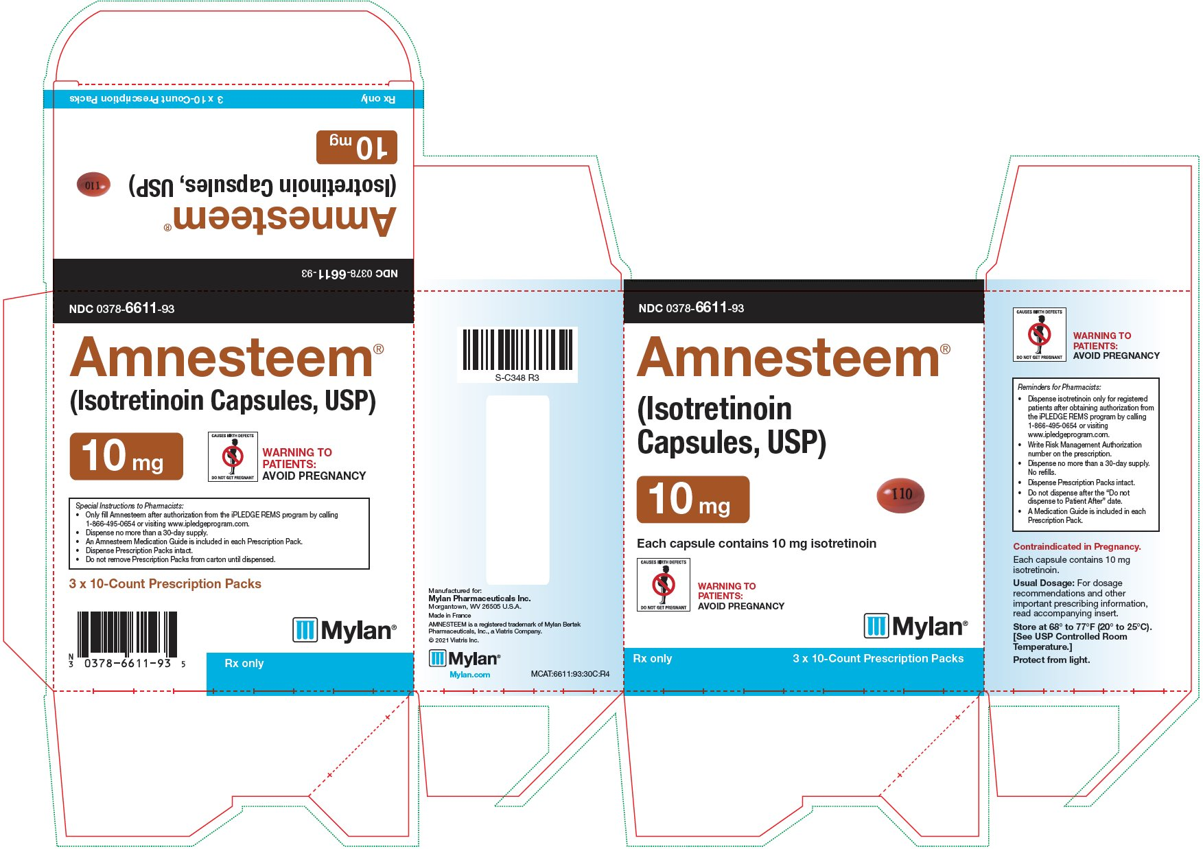 Amnesteem Capsules, USP 10 mg Carton Label