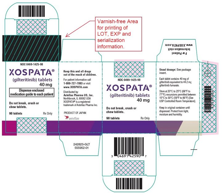 Xospata (gilteritinib) tablets 40 mg label