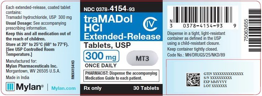 Tramadol Hydrochloride Extended-Release Tablets 300 mg Bottle Label