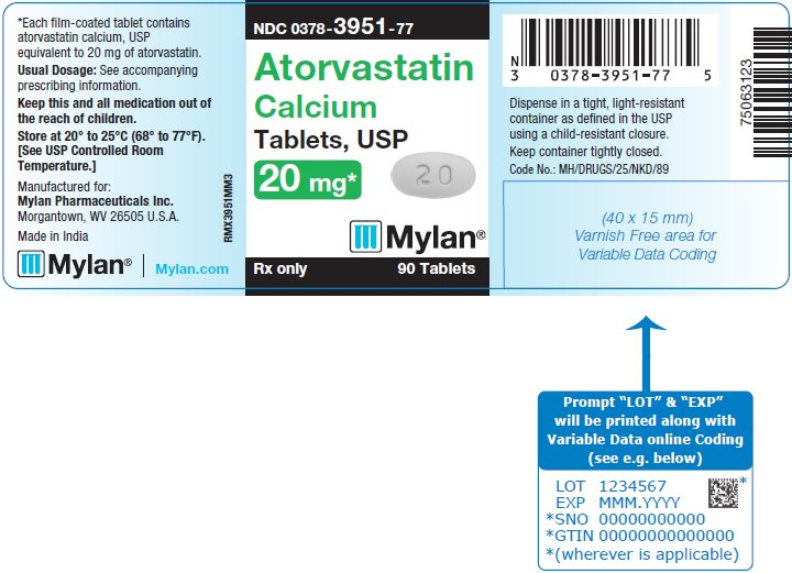 Atorvastatin Calcium Tablets 20 mg Bottle Label