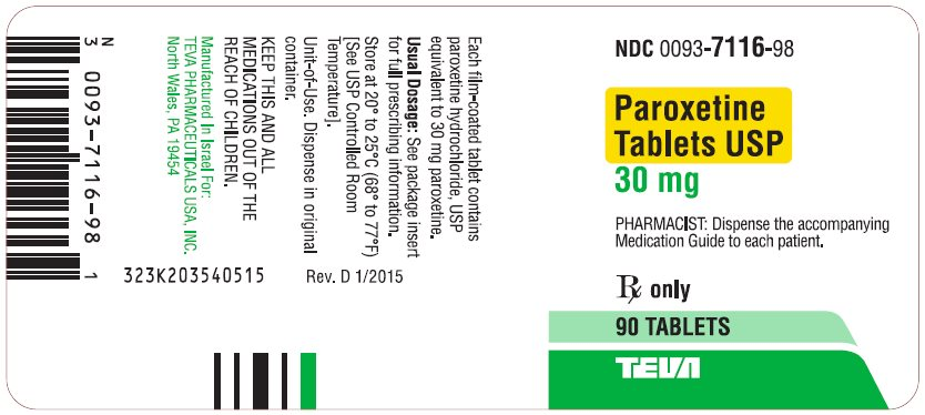 Paroxetine Tablets USP 30 mg 90s Label