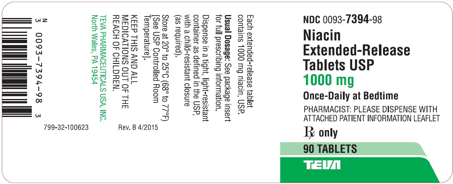 Niacin Extended-Release Tablets USP 1000 mg 90s Label