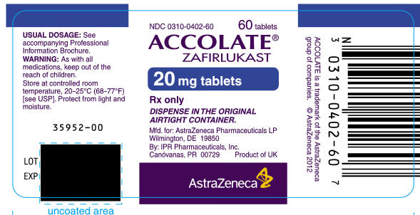 ACCOLATE 20 mg tablets Bottle Label 60 tablets