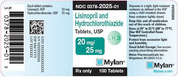 Lisinopril and Hydrochlorothiazide Tablets, USP 20 mg/25 mg