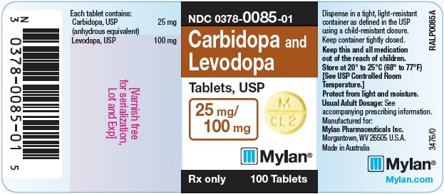 Carbidopa and Levodopa Tablets, USP 25 mg/100 mg Bottle Label