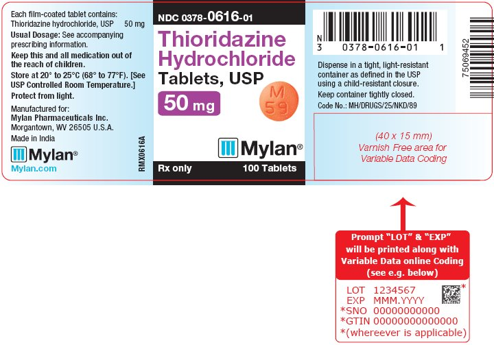 Thioridazine Hydrochloride Tablets 100 mg Bottle Label
