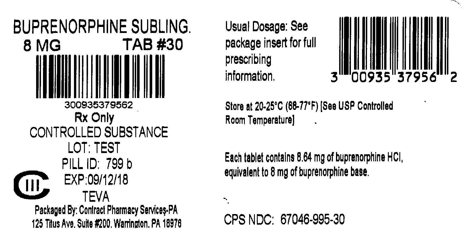 Buprenorphine Hydrochloride Sublingual Tablets 8 mg 30s Label