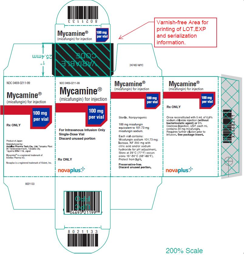 Mycamine (micafungin) for injection 100 mg per vial carton label
