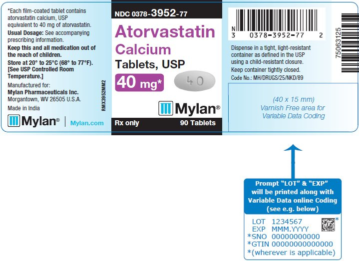 Atorvastatin Calcium Tablets 40 mg Bottle Label