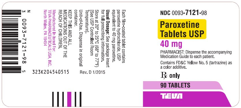 Paroxetine Tablets USP 40 mg 90s Label