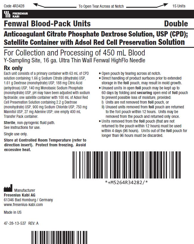 Anticoagulant Citrate Phosphate Dextrose Solution, USP (CPD) BLOOD-PACK™ Unit; Satellite Container with ADSOL™ Red Cell Preservation Solution label