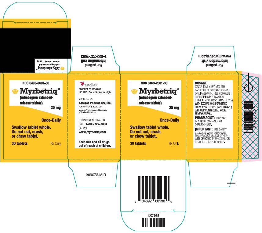 Myrbetriq (mirabegron) extended release tablets 25 mg label